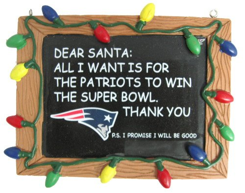 New England Patriots Official NFL 3 inch x 4 inch Chalkboard Sign Christmas Ornament
