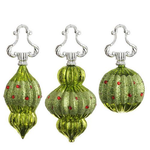 RAZ Imports – Lime Green Glass Finial Ornaments With Red Beads