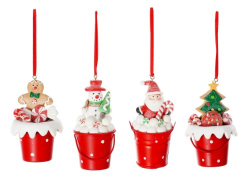 Gingerbread Kaolin Metal Bucket Ornament Set Creative Co-op
