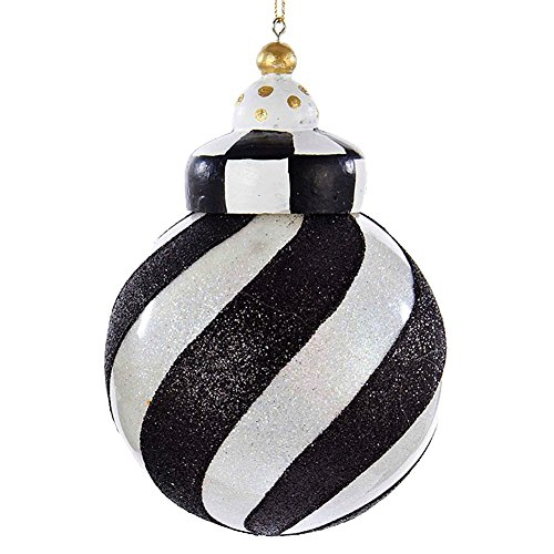 Christmas Ornament Black and White Striped Ball D2303-SWI Kurt Adler