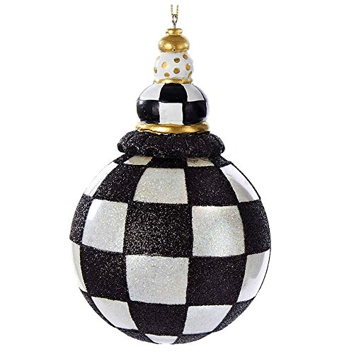 Christmas Ornament Black and White Checkered Ball D2303-CHE Kurt Adler