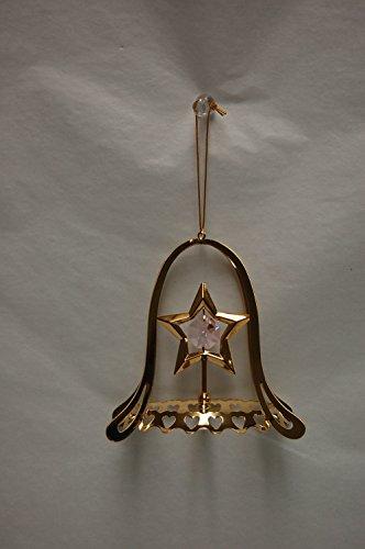 24k Gold Plated Star w/ Bell Shape Oanment – Swarovski Crystal