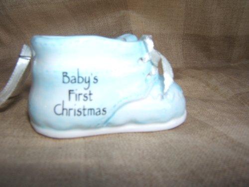 Ganz Christmas Ceramic Baby Shoe Ornament – Blue