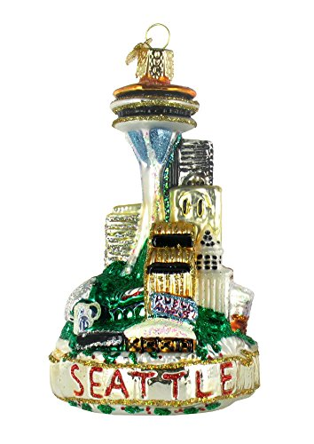 Old World Christmas Seattle Skyline Glass Ornament