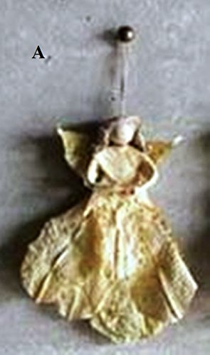 Creative Co-Op Feliz Navidad Collection Dried Leaf Angel Ornament, Choice of Style (A)