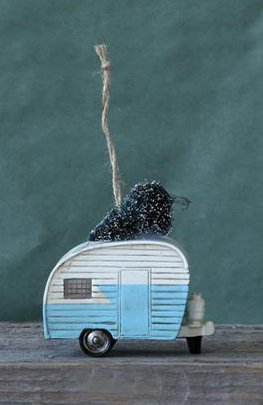 3.5″ Polyresin Camper with Christmas Tree Ornament- Blue