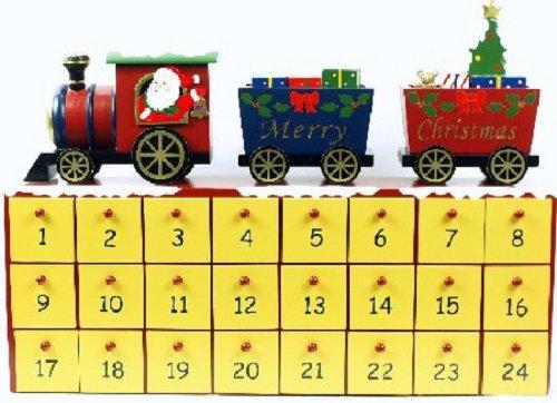 16″ Wooden Train On Top Advent Calendar
