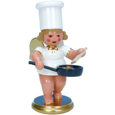 "31231 – Christian Ulbricht Ornament Angel Cook w/Egg Pan – 3″""H x 1.5″""W x 2″""D"