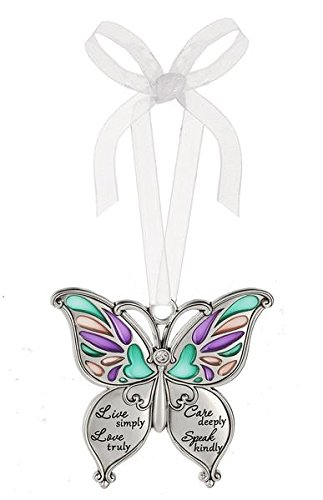 Ganz Butterfly Wishes Colored Ornament – Live simply, Love truly, Care deeply, Speak kindly