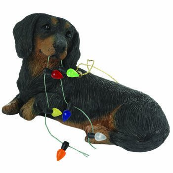 Sandicast Dachshund with Lights Holiday Ornament – black