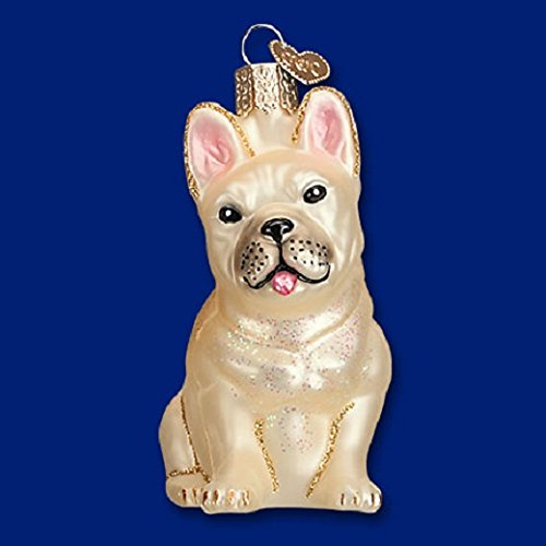 Old World Christmas French Bulldog Glass Ornament 3 1/2″