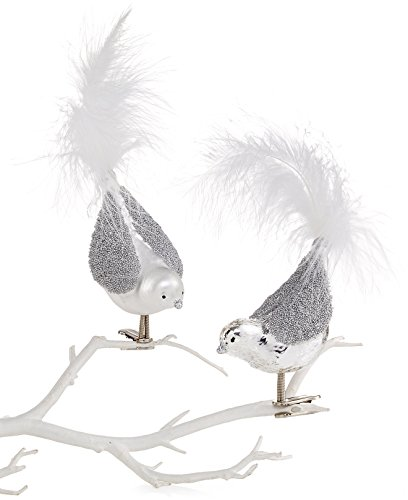 Holiday Lane Set of 2 Silver Bird With White Feathers Ornaments