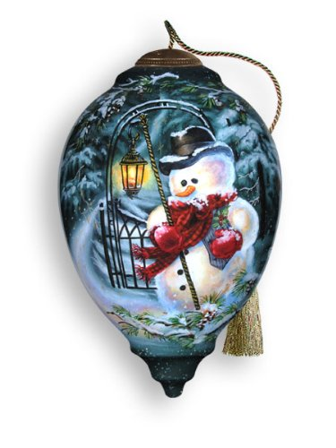 Ne'Qwa Art Snowy Magic Reverse Painted Glass Ornament