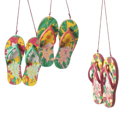 Tropical Tiki Beach Flip Flop Christmas Ornaments Set of 3
