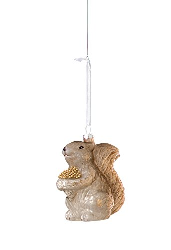 Sage & Co. XAO13893GY Glass Squirrel and Acorn Ornament, 4-Inch