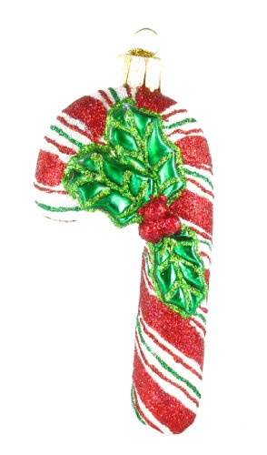 Old World Christmas Glistening Candy Cane Glass Ornament