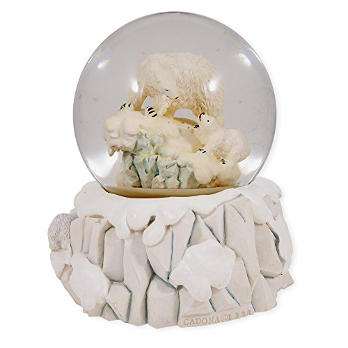 Polar Bear with Cubs Glass Musical Snow Globe Plays Song Can't Take My Eyes Off of You