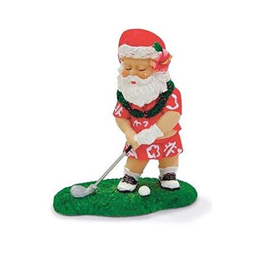 Hawaiian Christmas Tropical Ornament Golfing Santa