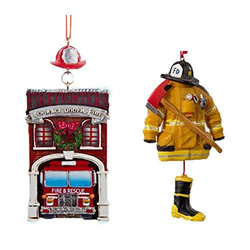 """NEW! Bundle Pack BONUS Kurt Adler Fire House with Firetruck """"Firefighters Courage Under Fire"""" & Resin Fireman Dress Christmas Ornament"""