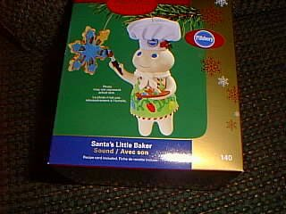 Pillsbury Doughboy Santa's Little Baker Christmas Ornament with Sound by Carlton Cards
