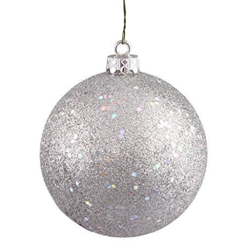 Vickerman 349069 – 4″ Silver Sequin Finish Ball Christmas Tree Ornament (6 pack) (N591007DQ)