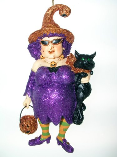 December Diamonds Zelda II Witch Halloween Ornament Holding Black Cat & Pumpking Basket Discontinued Collectible Limited Edition