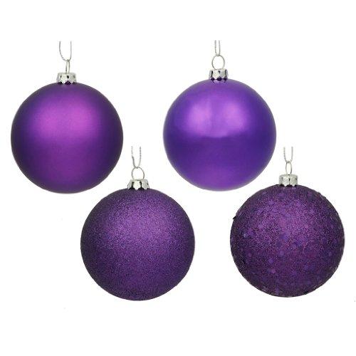 Vickerman 163085 – 1″ Purple Shiny Matte Glitter Sequin Ball Christmas Tree Ornament (18 pack) (N590306)
