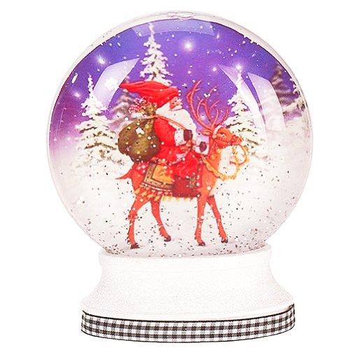 Mary Engelbreit Snow Globe Disk w LED Lights – Santa on Deer 36-34272-C