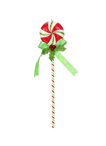 12″ Mary Engelbreit Candy Cane Peppermint Lollipop with Holly Berry Bow Christmas Ornament
