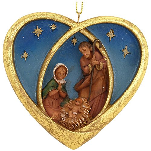 3.75″ Fontanini Heart with Holy Family Ornament