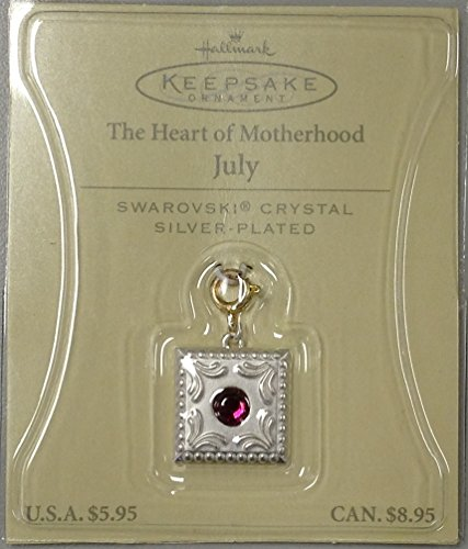 "Hallmark Keepsake Ornament ""The Heart of Motherhood"" July Swarovski Crystal Silver-Plated"