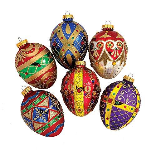 Kurt Adler Glass Jewel Egg Ornament, 120mm, Set of 6