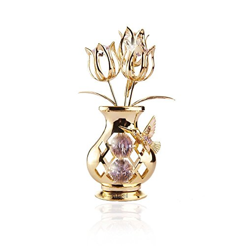 Mothers Day Gift: Flowers in Vase Table Top Ornament Dipped in 24k Gold Plating with Swarovski Spectra Crystals By Charming Temptations (Hummingbird)
