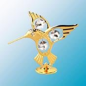 24K Gold Plated Fantail Hummingbird Free Standing – Clear – Swarovski Crystal