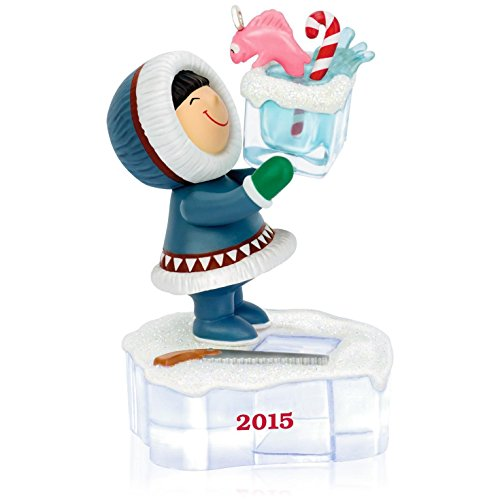 Hallmark QX9137 Frosty Friends Go Ice Fishing Ornament