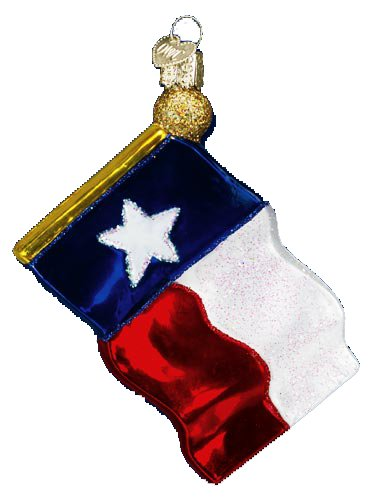Old World Christmas Texas State Flag Glass Ornament