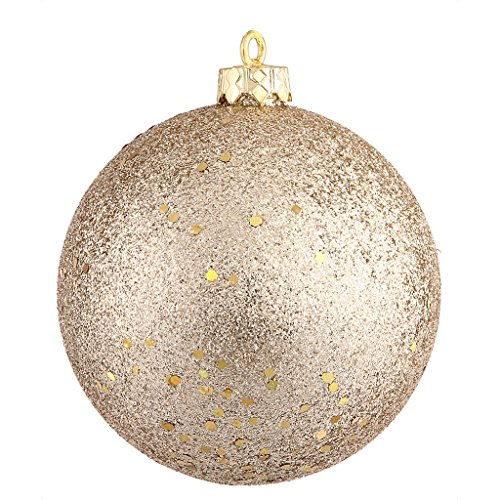 Vickerman 34967 – 4″ Champagne Sequin Ball Christmas Tree Ornament (6 pack) (N591038DQ)