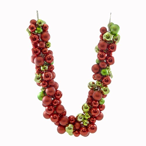 Christmas RED/GREEN BALL GARLAND Metal & Plastic Decoration Wreath Tree C87250674