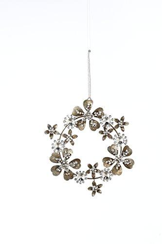 Sage & Co. XAO17301PL 7″ Jeweled Tin Wreath Ornament
