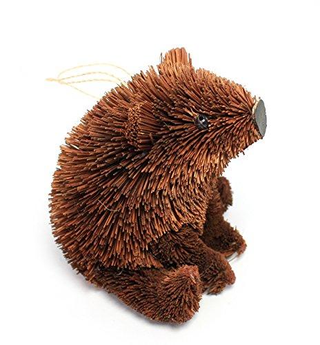 Martha Stewart Buri Bristle Brush 4″ Sitting Brown Bear Christmas Ornament