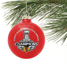 Chicago Blackhawks NHL Stanley Cup Champions Red Glass Ball Christmas Ornament