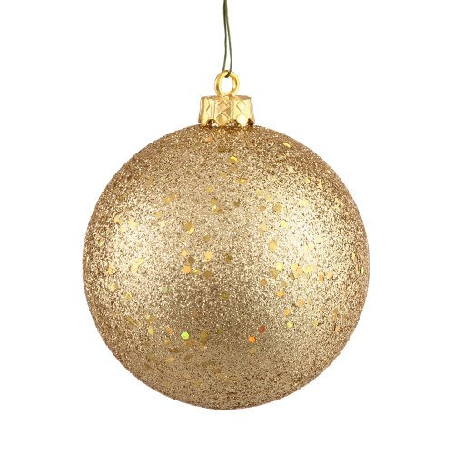 Vickerman drilled sequin ball ornaments inch gold