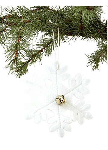 Sage & Co. XAO16195WH Felt Snowflake Ornament, 6-Inch