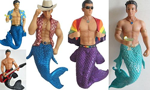 FIVE December Diamonds 7 inch Mermen Ornaments.You will receive the Masculine Gay Pride Merman, Adorable Hot Young Dallas Merman, Shirtless Cute Aquarius Merman,Spiked Lemonade Beach Man Merman,& Rock Star Shirtless Jagger Merman Playing Guitar. All 5 are individually Packaged in a Collector's Box, & Ready to Hang on a Gold Cord. Will mail in 1-2 days.Hot Men with Amazing Pecs & Abs!Embellished with Rhinestones & Glitter.Stunning Gift… a Collectible Investment!!!