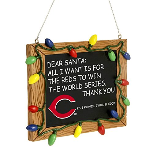 Cincinnati Reds Official MLB 3 inch x 4 inch Chalkboard Sign Christmas Ornament