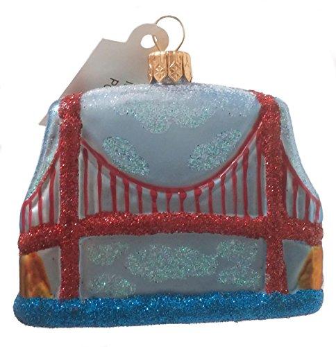 Golden Gate Bridge San Francisco Mini Polish Blown Glass Christmas Ornament
