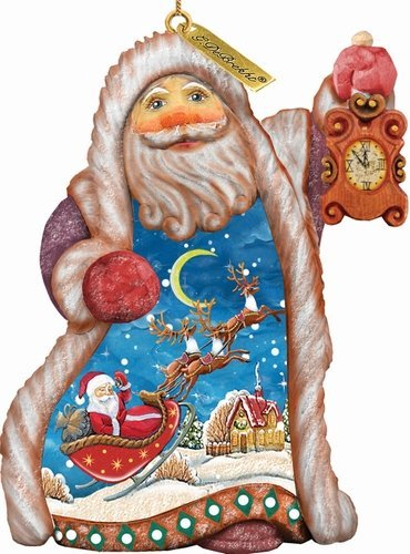 G. Debrekht Santa Sleigh Ride Ornament, 5″