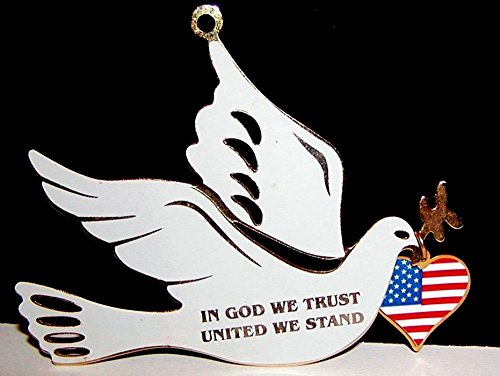 1987 Gloria Duchin Brass Enamel Peace Dove Ornament – In God We Trust, United We Stand