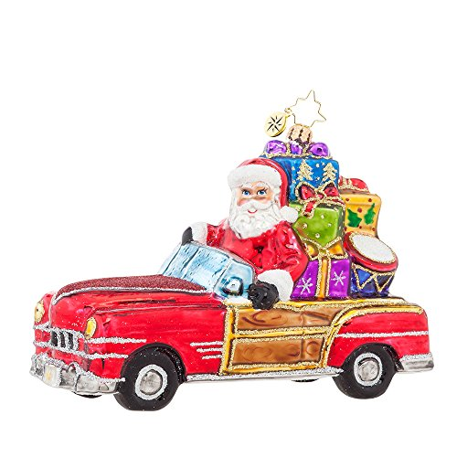 Christopher Radko Vintage Ride Santa Glass Christmas Ornament – 6″L.