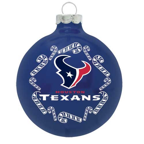 Houston Texans NFL Candy Cane Traditional Glass Ball Christmas Ornament- 2 3/4″